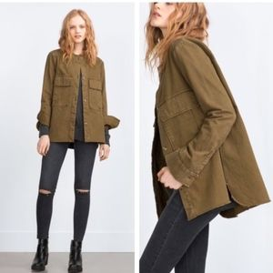 Zara | Army Green Frayed Jacket